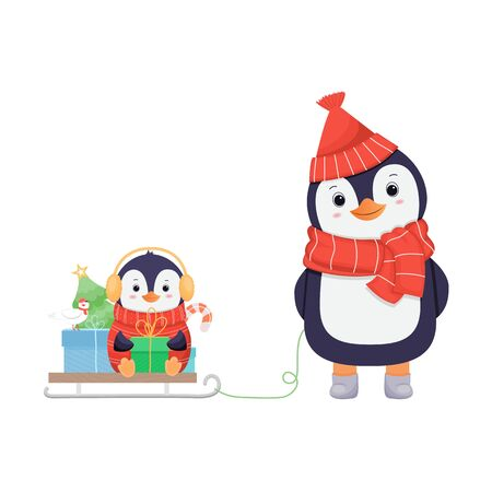 Cute penguin family in winter .Christmas character.Cartoon illustration Çizim