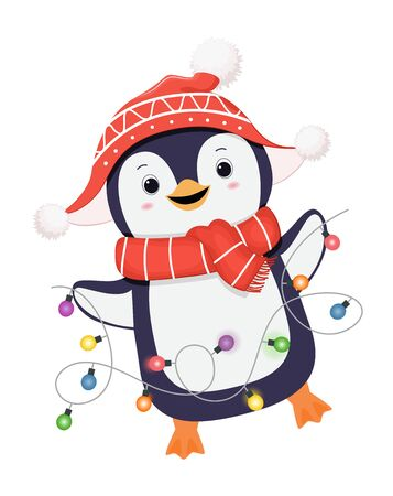 Cute winter penguin dances with garland. Christmas character. Penguin in red scarf. Isolated on white background.Cartoon illustration.