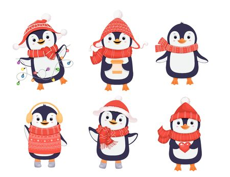 Collectionof cute winter penguins. Christmas character. Penguin in red scarf. Cartoon illustration. Standard-Bild - 134723989