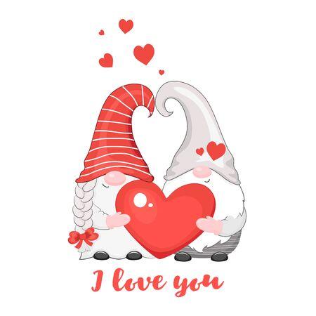 Cute couple of valentine gnomes. Vector illustration. Isolated on white background. Illusztráció