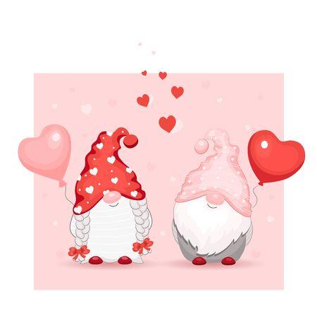 Cute cartoon valentine gnomes with hearts.