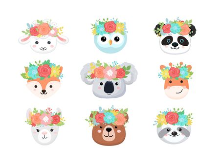 Cartoon cute faces of animals with flower crown. Vector illustrarion.