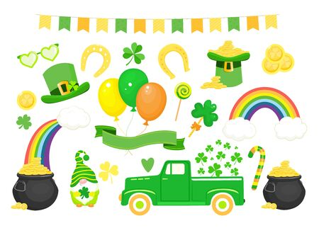 Set of St. Patrick`s day icons and elements. Vector illustration.Isolated on white background 向量圖像