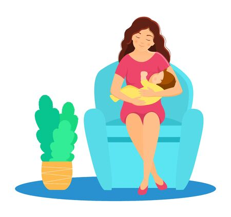Mother breastfeeding baby.Mother and baby. Vector illustration.