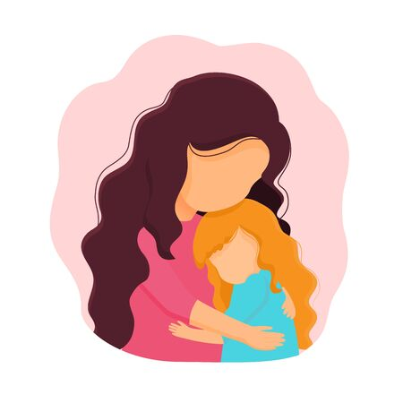 Colored motherly love concept isolated on a white background. Mother and daughter in love inside round.Mother and daughter hug. Mother and baby.Vector illustration