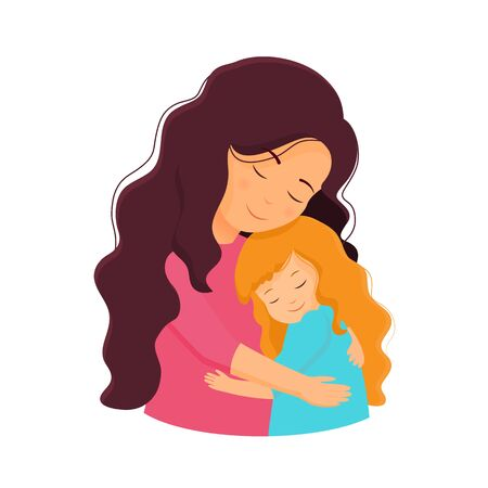 Mother and daughter in love..Mother and daughter hug. Mothers day.Vector illustration Illusztráció