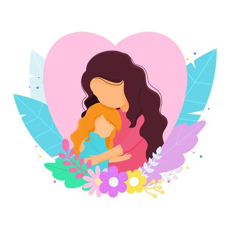 Colored motherly love concept isolated on a white background. Mother and daughter in love inside heart.Mother and daughter hug. Mother and baby.Vector illustration Illusztráció