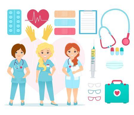 Vector set of medical equipment . Cartoon illustratoin.