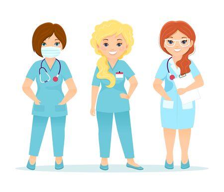 Set of vector nurse characters. Cartoon illustratoin.