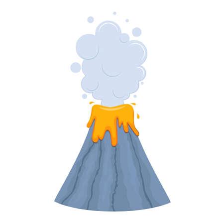 Cute childish volcano  illustration. Isolated on white background. Cartoon style Illusztráció