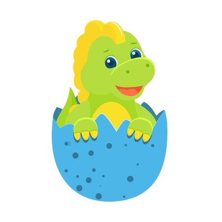 Cute childish green baby dinosaur in egg. Vector illustration. Isolated on white background. Cartoon style