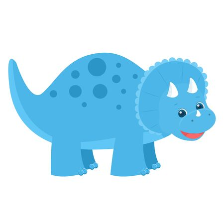 Cute childish blue dinosaur. Vector illustration. Isolated on white background