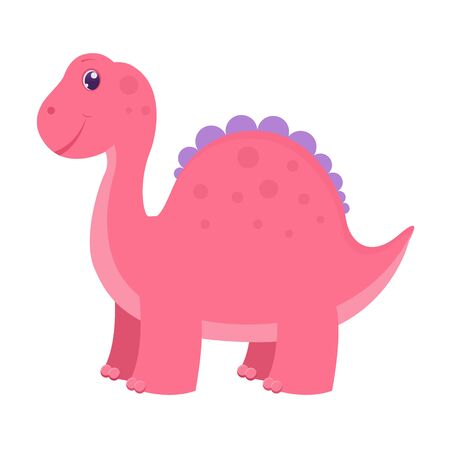 Cute childish pink dinosaur. Vector illustration. Isolated on white background. Cartoon style 向量圖像
