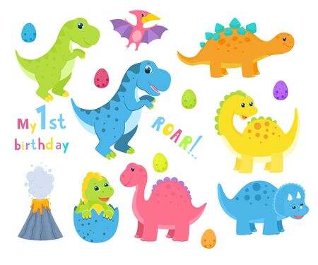 Set of cute childish dinosaurs. Vector illustration. Isolated on white background. Cartoon style Illusztráció