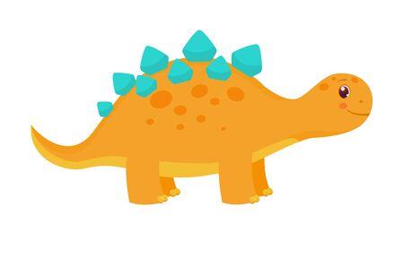 Cute childish orange dinosaur. Vector illustration. Isolated on white background. Cartoon style