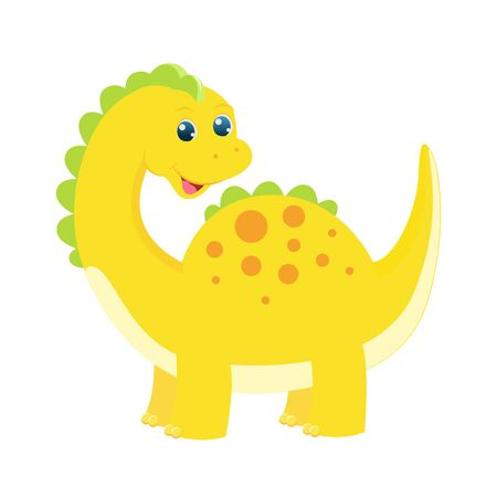 Cute childish blue dinosaur. Vector illustration. Isolated on white background. Cartoon style