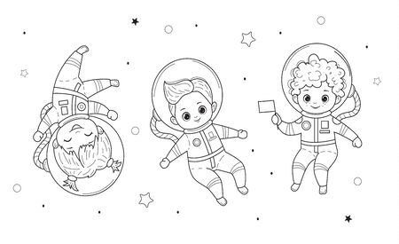 Kids for coloring book. Vector line illustration