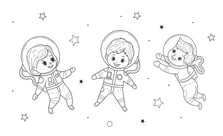Kids for coloring pages Vector line illustration