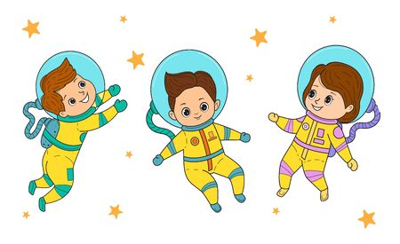 Set of vector astronaut kids.Girls and boys in astronaut costume flies. Line art design.Isolated on white background.Vector illustration