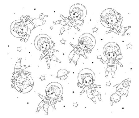 Collection of kids for coloring book. Girls and boys in astronaut costume flies. Line art design.Isolated on white background.Vector illustration