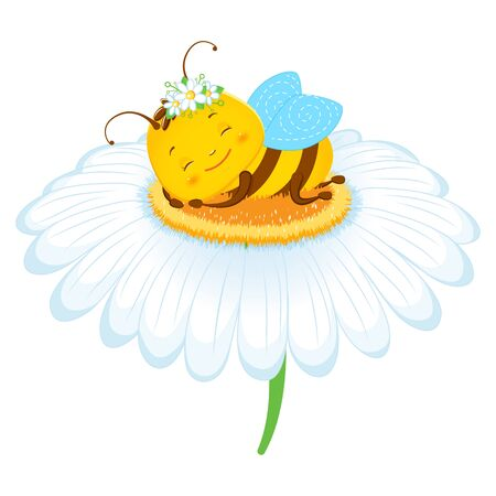 Cute bee sleeping on a camomile. Children s illustration. Isolated on a white background. Cartoon style