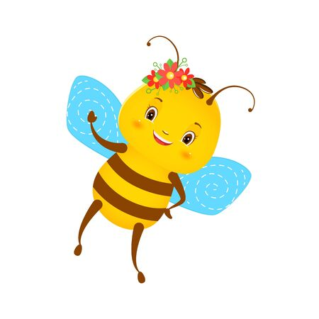 Cute smiling bee with red flowers. Children s illustration. Isolated on a white background. Cartoon style