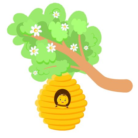 A lovely cute bee is sitting in a beehive on a tree. Children s illustration. Isolated on white background. Cartoon style 向量圖像