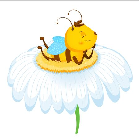Adorable honeybee lies on a camomile. Children s illustration. Isolated on a white background.. Cartoon style 向量圖像