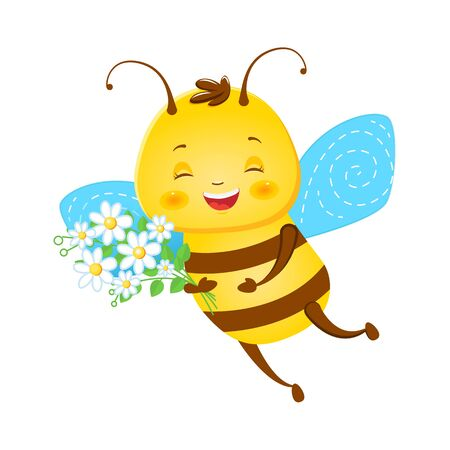 Cute smiling honeybee with white flowers. Children s illustration. Isolated on a white background. Cartoon style