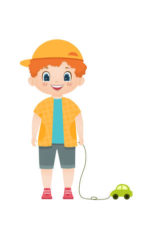 Cartoon vector smiling redheaded boy with toy car