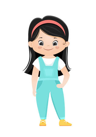 Cartoon vector smiling chinese girl in overalls