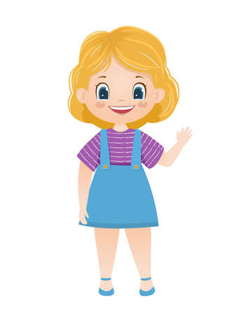 Cartoon vector smiling blond girl waves hand