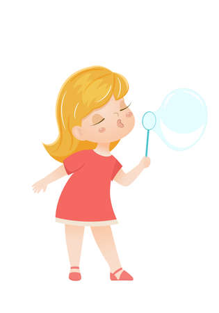 Cartoon vector girl blowing a soap bubble
