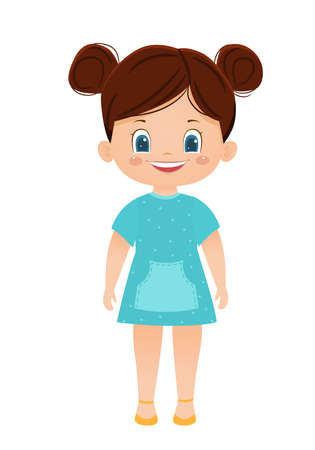 Cartoon vector smiling girl in a blue dress 向量圖像