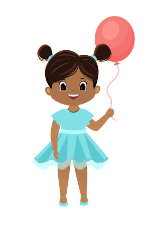 Cartoon vector african american girl with a pink balloon