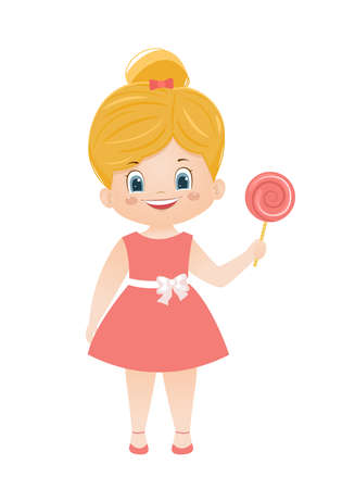Cartoon vector blond girl in a pink dress with lolipop 向量圖像