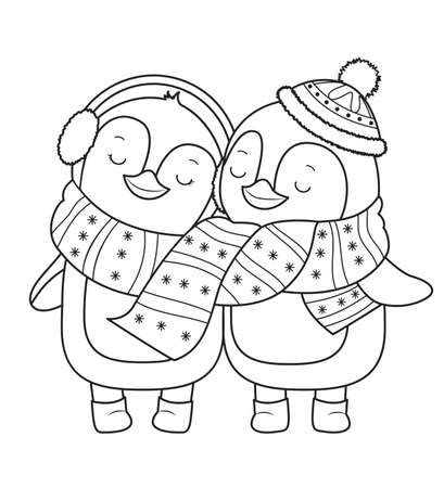 Penguin for coloring book.Line art design for kids coloring page.