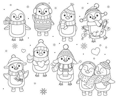 Collection of penguins for coloring book.Line art design for kids coloring page.