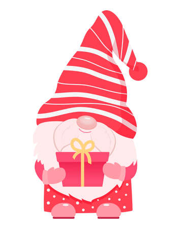 Adorable cartoon valentine gnome with gift box.