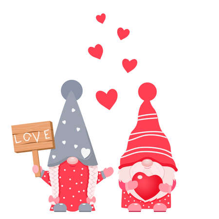 Adorable cartoon valentine gnomes with wood board and heart in hends.