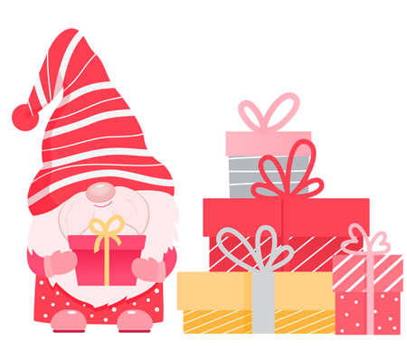 Adorable cartoon valentine gnome with gift boxes.