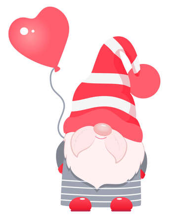 Adorable cartoon valentine gnome with heart balloon. 向量圖像