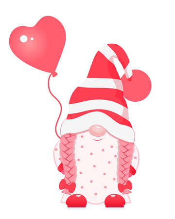 Cute cartoon valentine gnome with heart balloon. 向量圖像