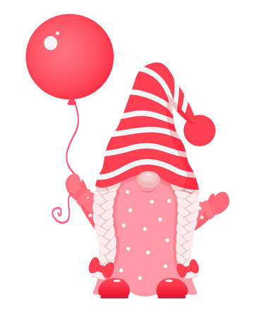 Adorable cartoon valentine gnome with red balloon.