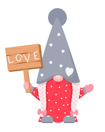 Adorable cartoon valentine gnome with wood board. 向量圖像