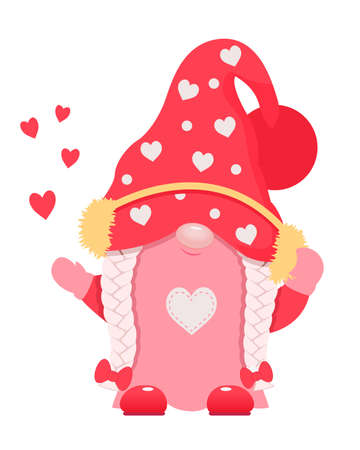 Adorable cartoon valentine gnome with headphones.