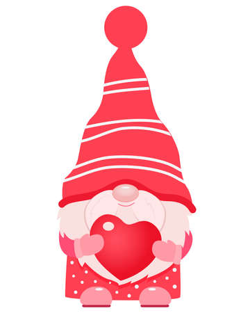 Adorable cartoon valentine gnome with heart in his hands. 向量圖像