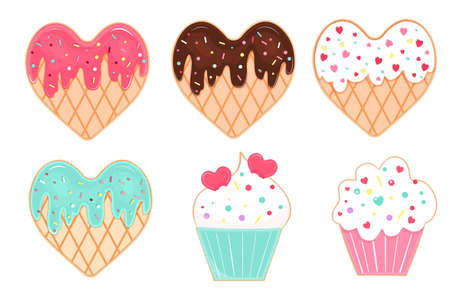 Vector set of glazed and sprinkles cookies and cupcakies for Valentines Day. 向量圖像