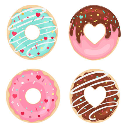 Vector set of glazed, chocolate and sprinkles donuts. Top view. Valentine Donuts. 向量圖像