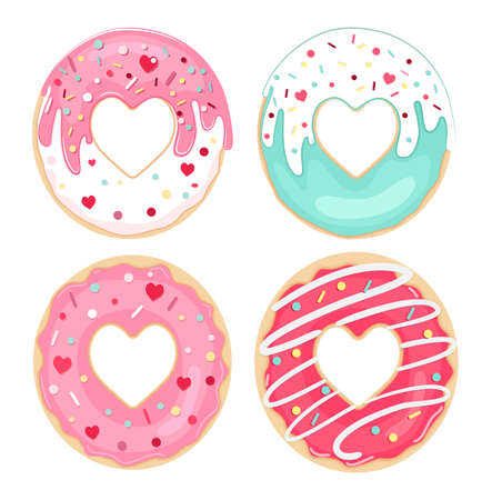 Vector set of glazed and sprinkles donuts. Top view. Valentine Donuts.